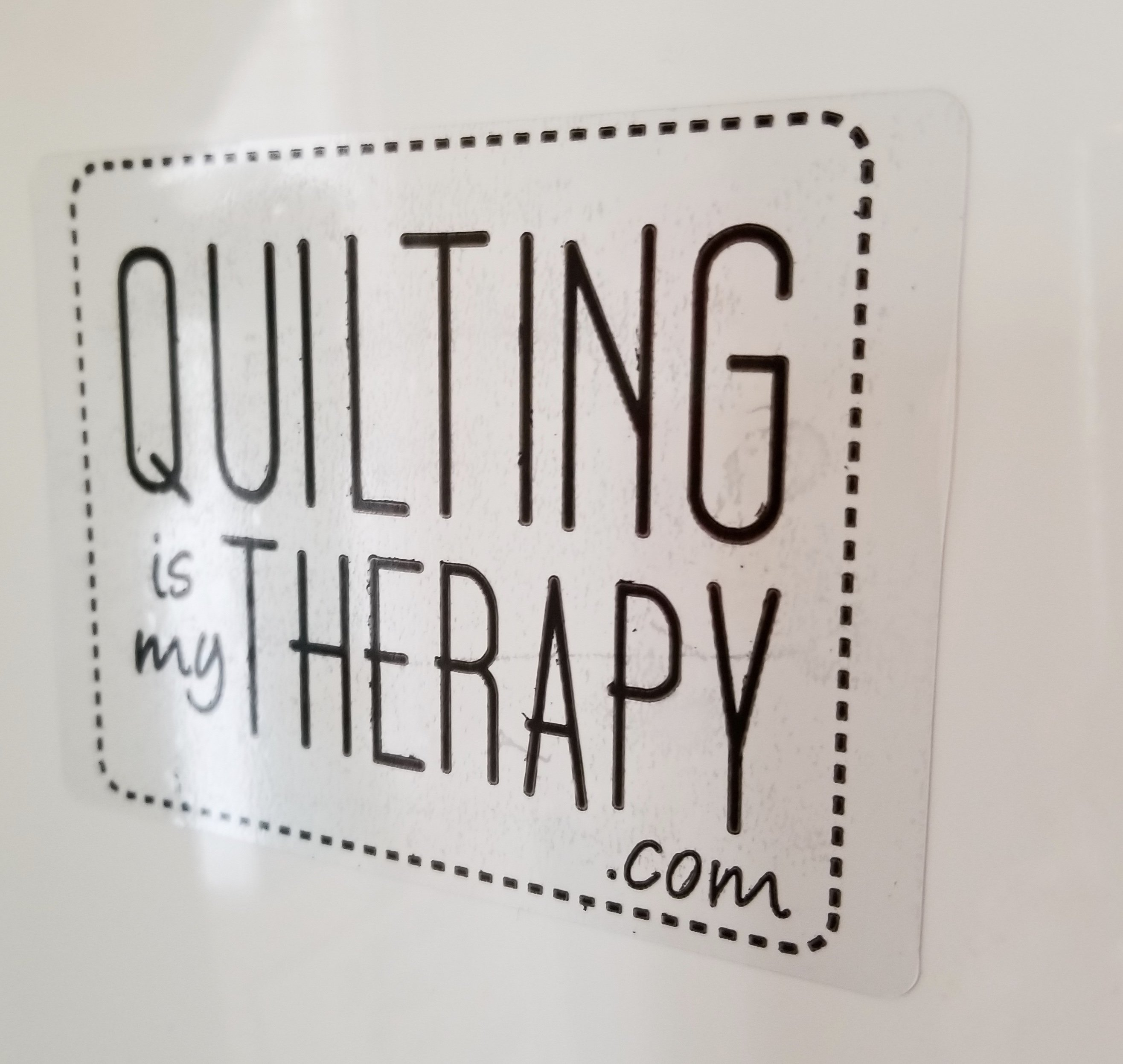 Quilting Is My Therapy Static Cling Sticker