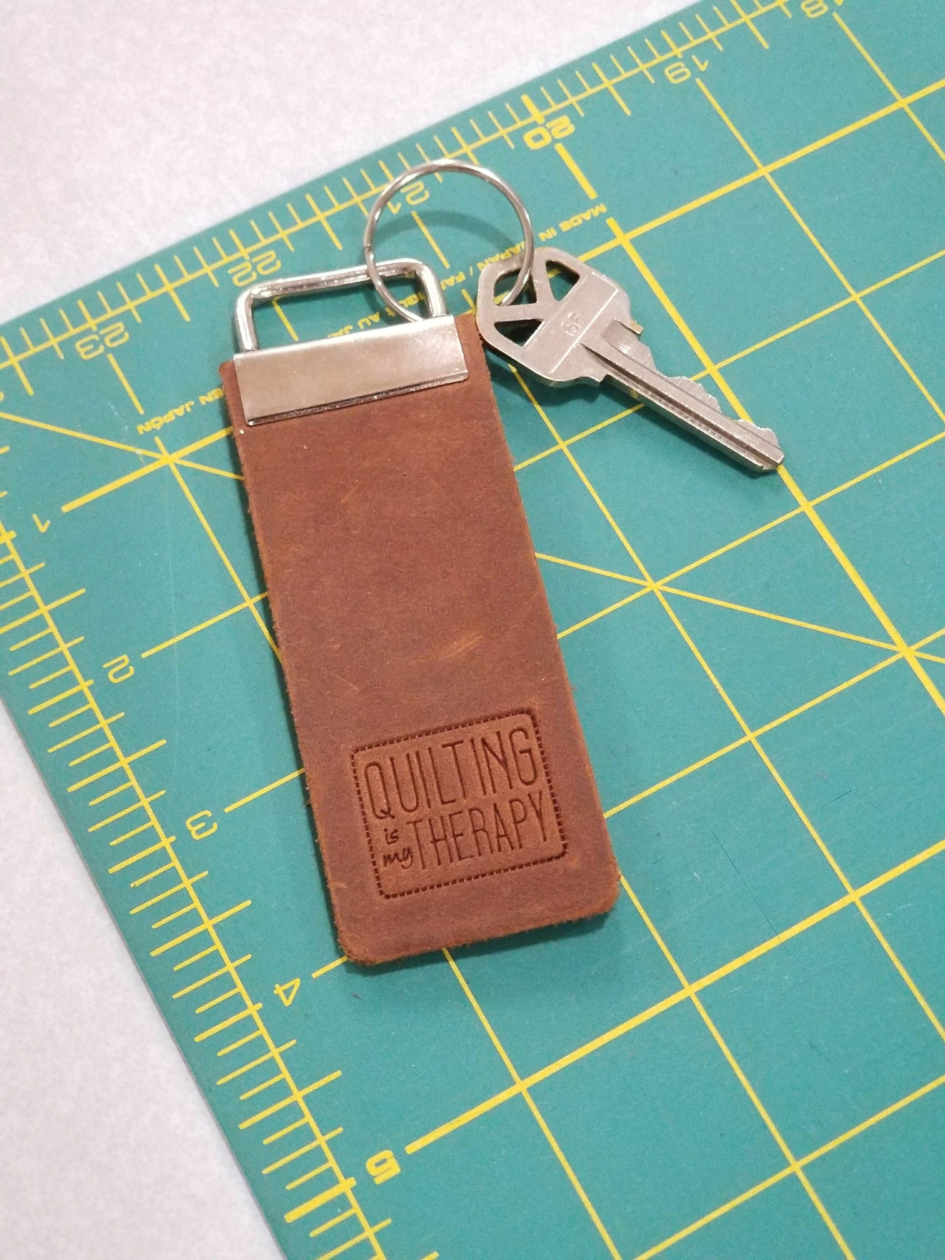 Quilting Is My Therapy Leather Key Fob