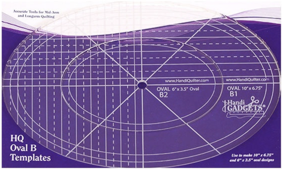 """Handi Quilter Oval B Ruler 10"""" and 6"""""""