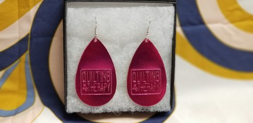 """Quilting Is My Therapy""  Shiny Hot Pink metallic Leather Earrings"