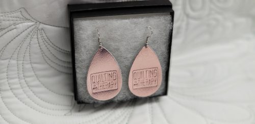 """Quilting Is My Therapy""  Shiny Rose Gold metallic Leather Earrings"