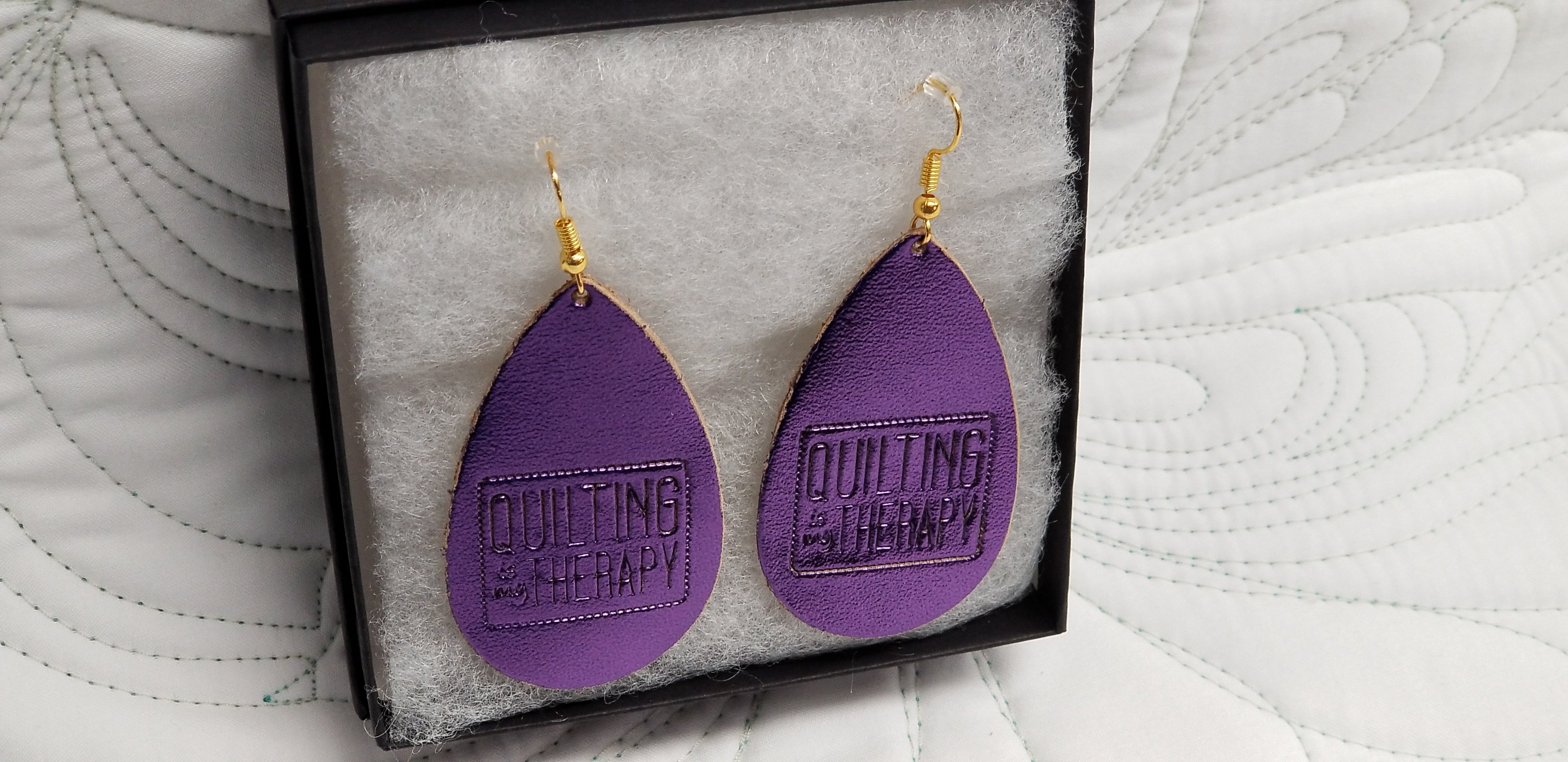 """""""Quilting Is My Therapy""""  Shiny Purple metallic Leather Earrings"""
