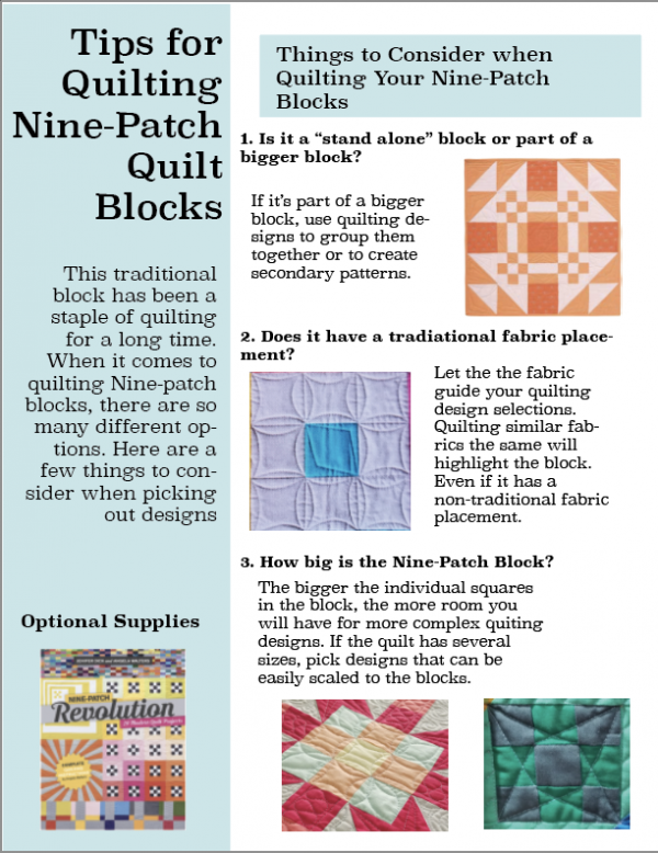 Help How Do I Quilt It? Resource PDF for Quilting Nine-Patch Blocks