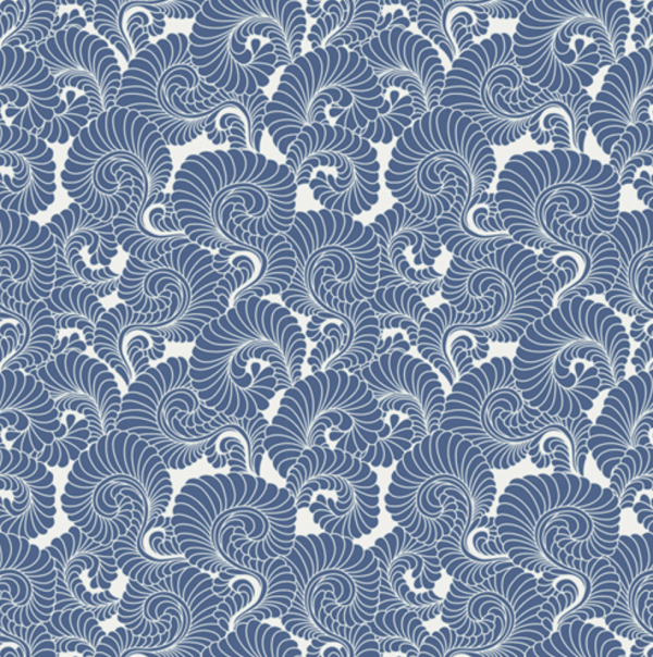 Drift Feathered Blue Fabric by Angela Walters
