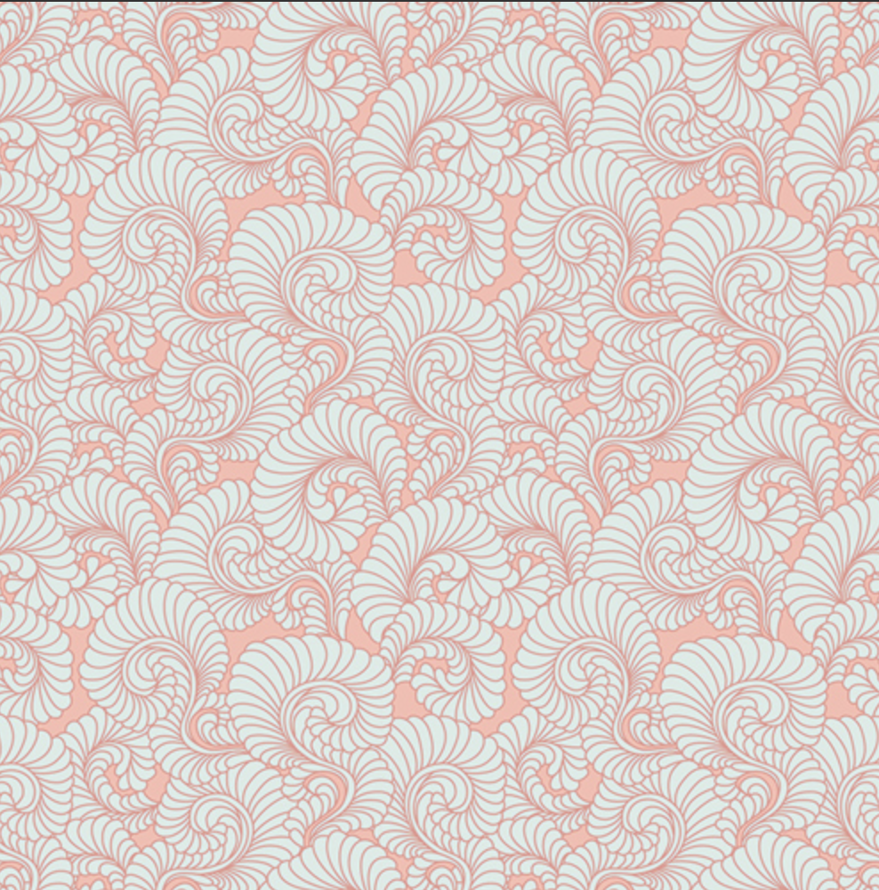 Drift Pink Feathered Coral Fabric by Angela Walters