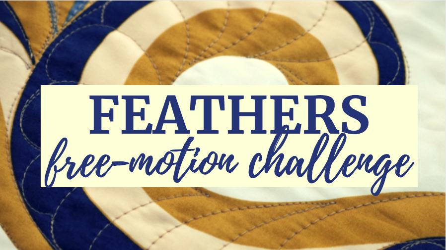feathers free-motion challenge quilting along