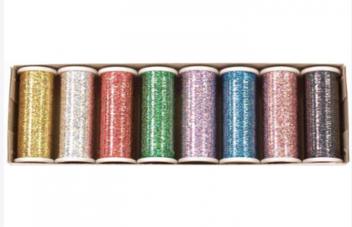 Glitter Hologram thread - Hologram colors set of 8 spools (400 yd. spools). I