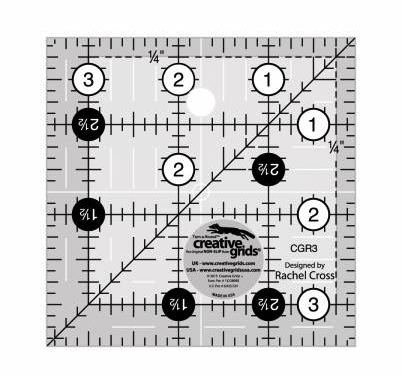 "creative grids 3 1/2"" square ruler"