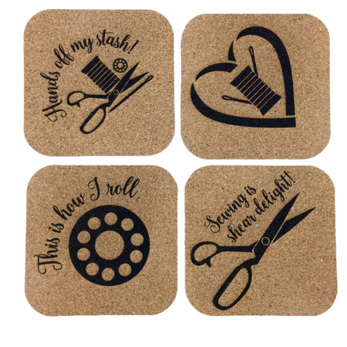 quilt themed cork coasters