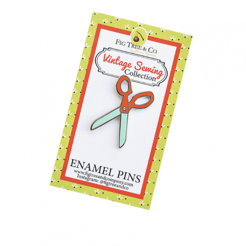 retro scissors enamel pin by fig tree quilts