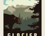Glacier national park poster panel