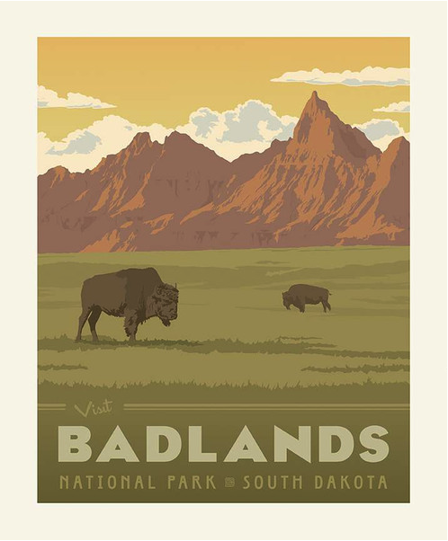 badlands national park poster fabric panel