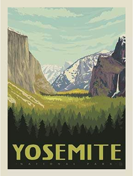 yosemite national park poster panel