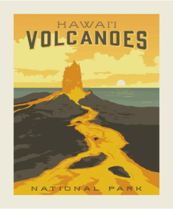 hawaii national parks volcano quilt fabric panel