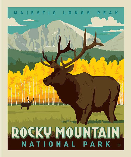 Rocky Mountain National Park Poster Fabric Panel Quilting Is My Therapy