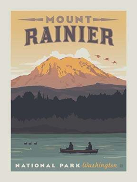 mt rainier national park fabric quilt panel