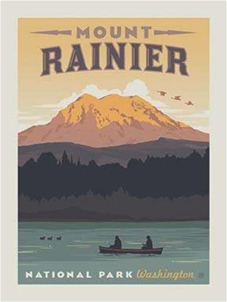 mt rainier national park fabric quilt panel
