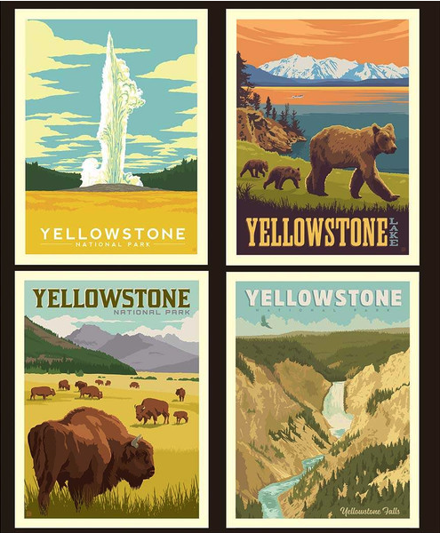 yellowstone national park pillow panel