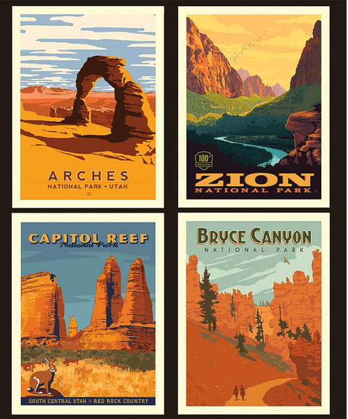 fabric panel of utah national parks bryce canyon arches capitol reef