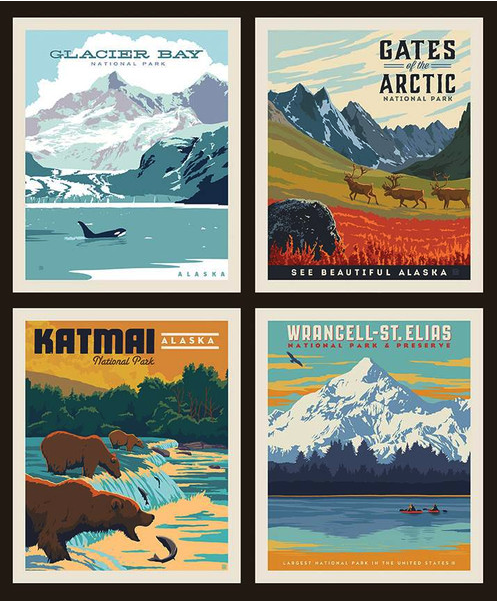 alaska national parks pillow panel