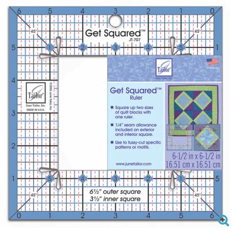 "get squared ruler 6 1/2"" and 3 1/2"""