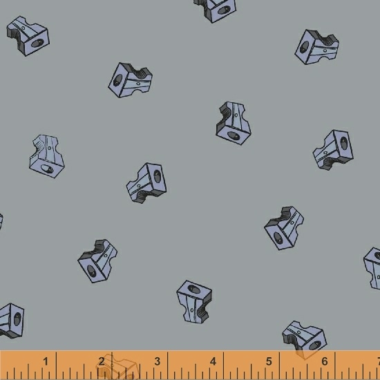 pencil club fabric by heather givans gray pencil sharpeners