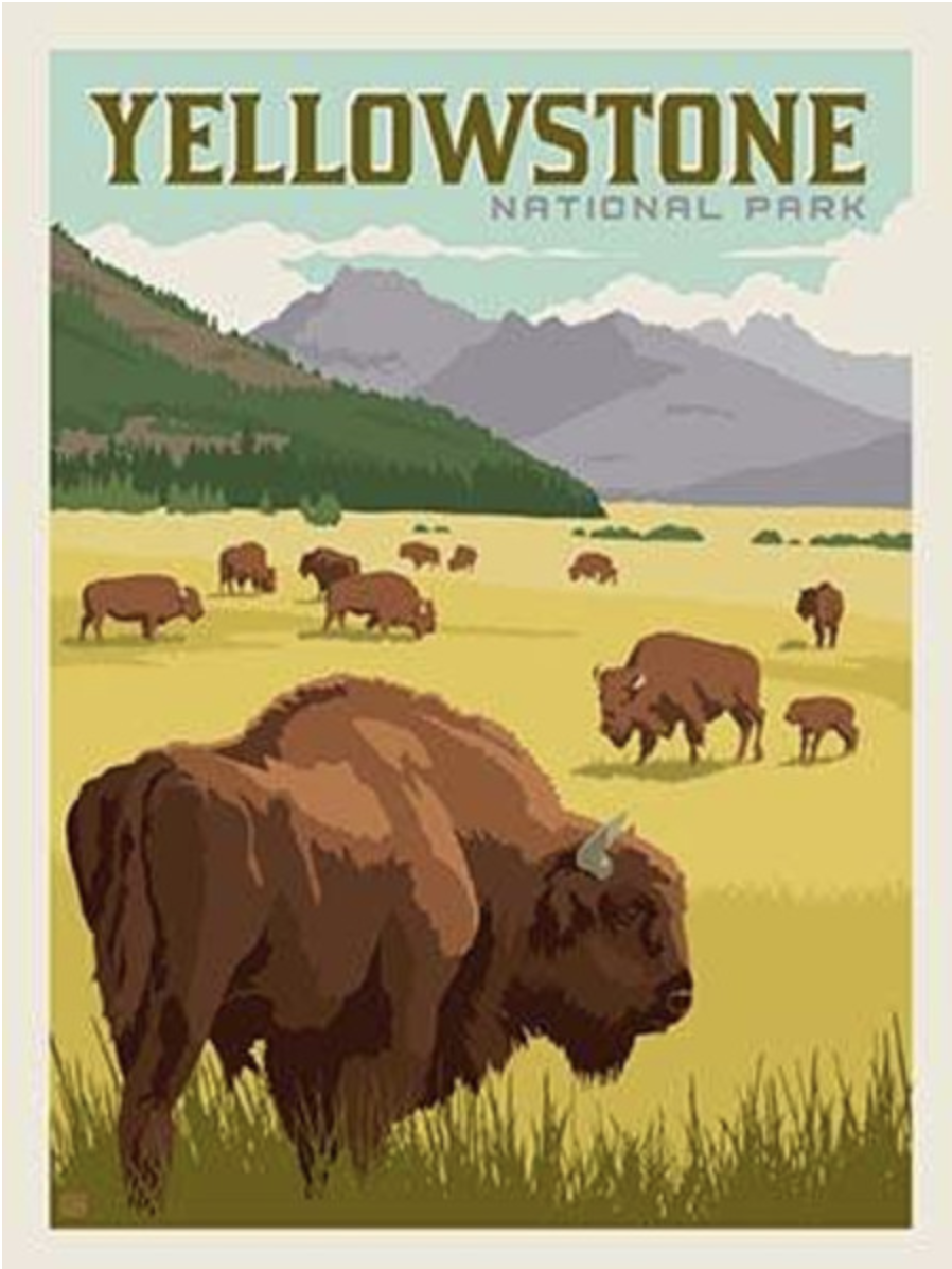 Yellowstone National Parks Poster Panel Quilting Is My Therapy