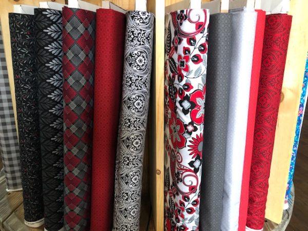 black, white and red hot fabrics