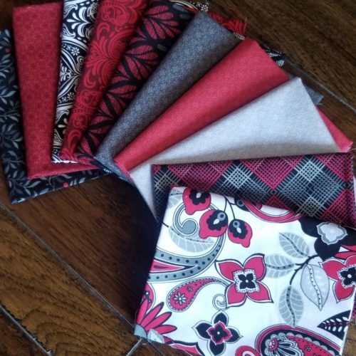 Black white and red fat quarter bundle