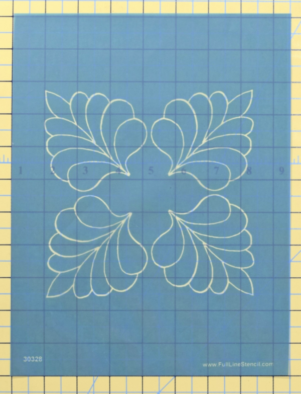 four corner feather machine quilting stencil