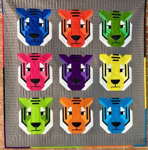 antonia tiger quilt kit by elizabeth hartman