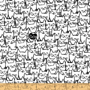 black and white cat extra wide fabric