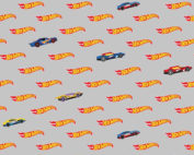 gray hot wheels logo fabric