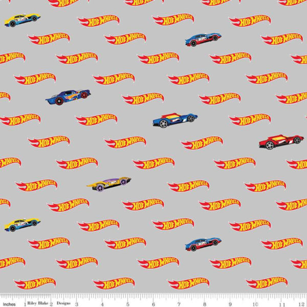 gray hot wheels logo fabric
