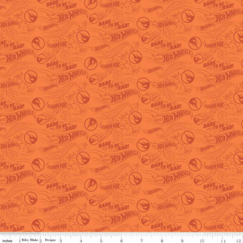 orange hot wheels fabric