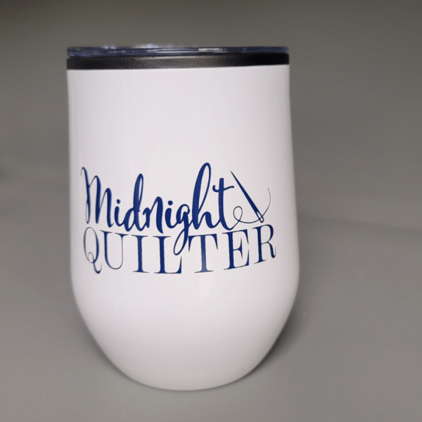 midnight quilter stemless wine tumbler