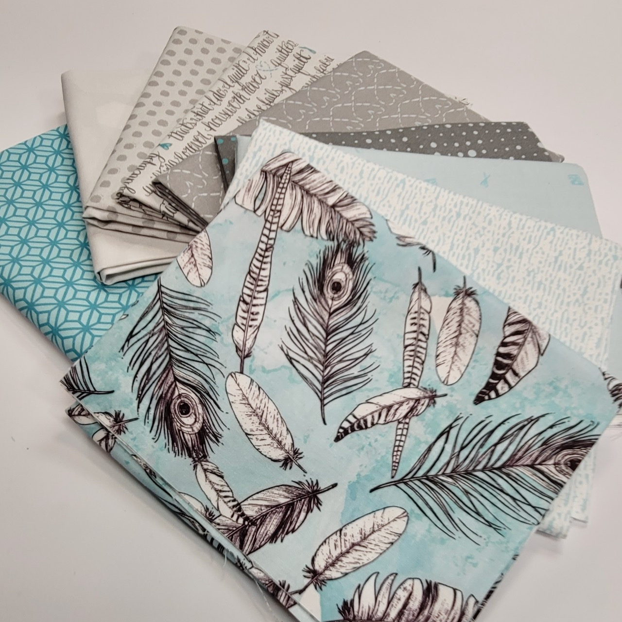 gray and blue fat quarter bundle