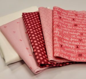 pink inked rainbow quilt fabric