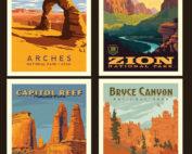 utah national parks pillow poster panel
