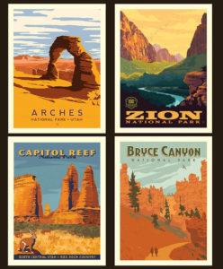 utah national parks pillow poster panel