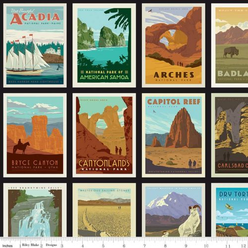 national parks poster fabric