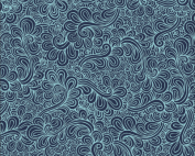 navy feathers fabric